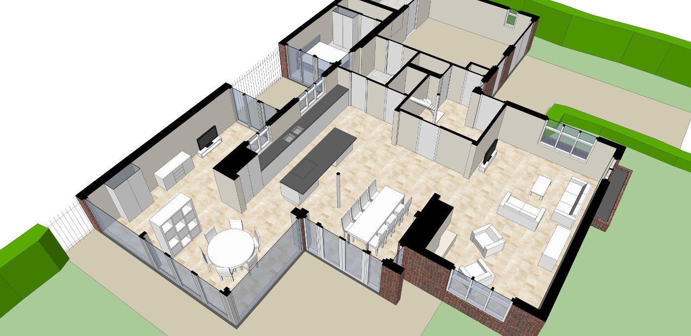 Verbouwing Traditioneel Woonhuis Citrushof interieur plattegrond impressie BEELEN CS architecten Eindhoven