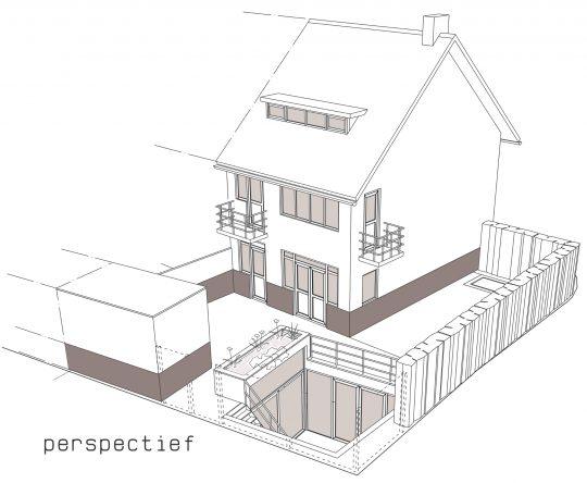 3D perspectief - Onderkeldering woonhuis Witte Dorp, Eindhoven - BEELEN CS architecten Eindhoven