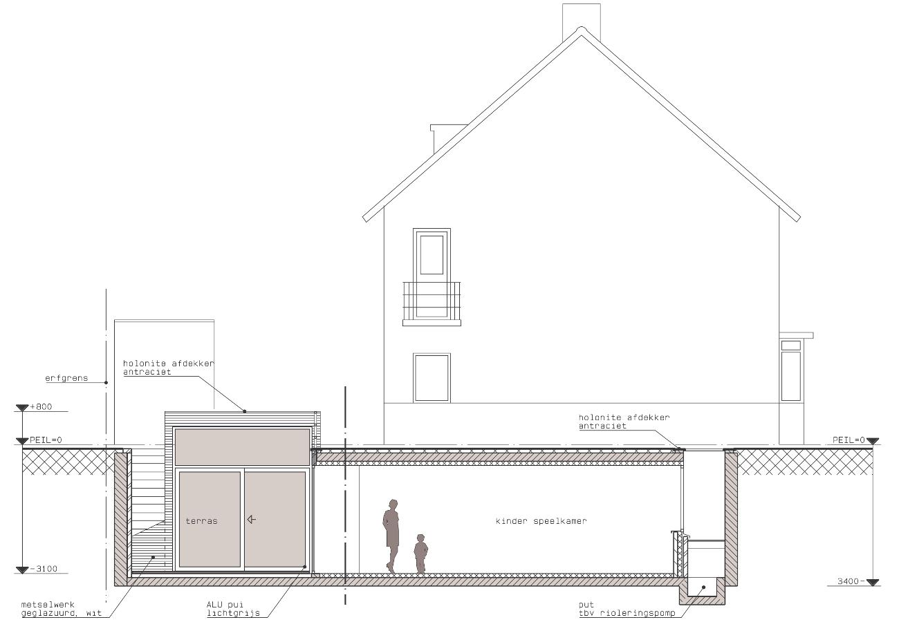 Doorsnede BB - Onderkeldering woonhuis Witte Dorp, Eindhoven - BEELEN CS architecten Eindhoven