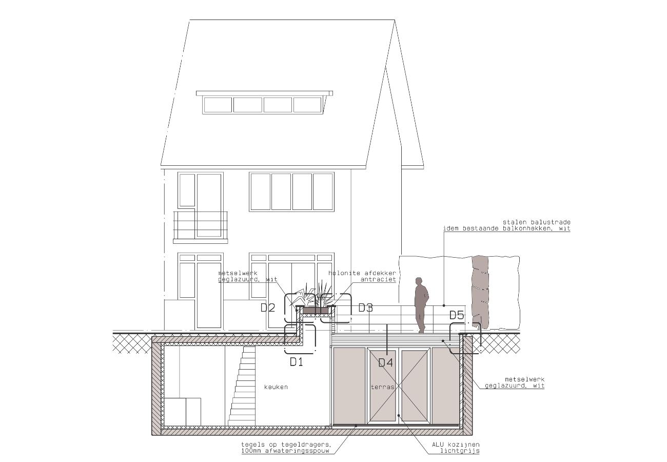 Dwarsdoorsnede CC - Onderkeldering woonhuis Witte Dorp, Eindhoven - BEELEN CS architecten Eindhoven