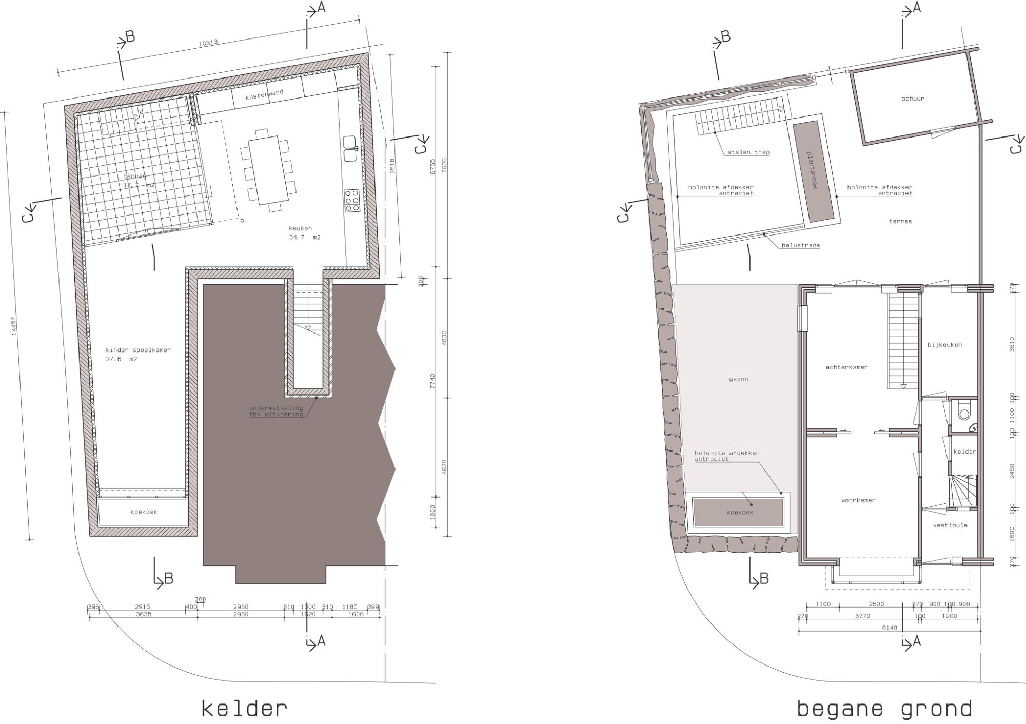 Plattegronden - Onderkeldering woonhuis Witte Dorp, Eindhoven - BEELEN CS architecten Eindhoven