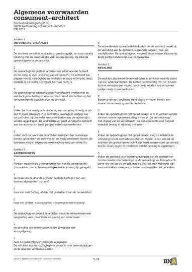 CR 2013, Consumentenregeling 2013 Rechtsverhouding consument – architect - Beelen CS architecten bv