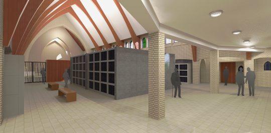 Herbestemming Theresiakerk te Landgraaf, interieur entree tomberuimte, BEELEN CS architecten bv