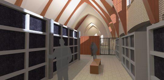 Herbestemming Theresiakerk te Landgraaf, interieur tomberuimte, BEELEN CS architecten bv
