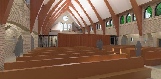 Herbestemming Theresiakerk te Landgraaf, interieur zaalruimte, BEELEN CS architecten bv